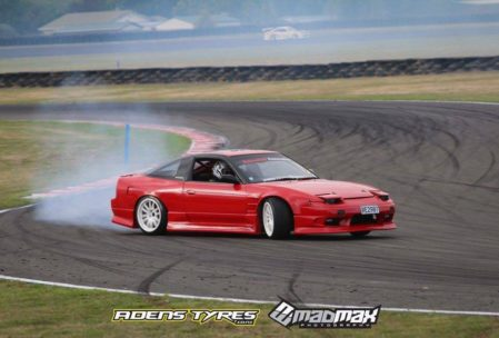 Nissan 180sx kouki drift car fitted with work emotion wheels and origin labs aero